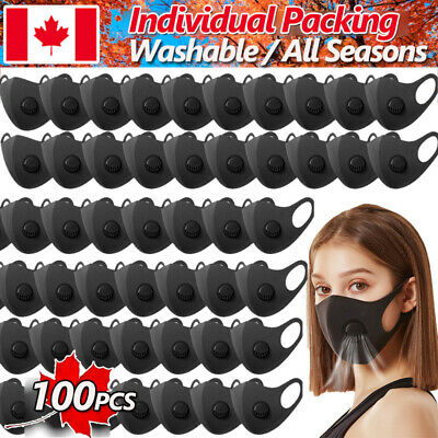 $ CDN12.85 • Buy 2-100 Sponge Mask Face Protector Cover With Valve Washable Breathable Respirator