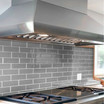 Tile Samples:Brooklyn Brick Bevelled Gloss Warm Grey Metro Wall Tiles 7.5 X 30cm • 1.50£