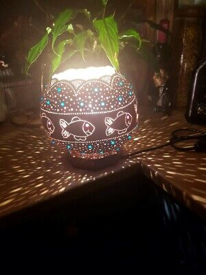 BEAUTIFUL FISH BOWL GOURD LAMP Handcrafted • 55£