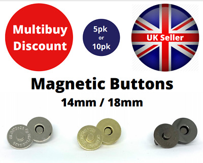 Magnetic Button Fasteners Clasps Snaps 14mm 18mm No Tools Required 5pk Or 10pk • 2.79£