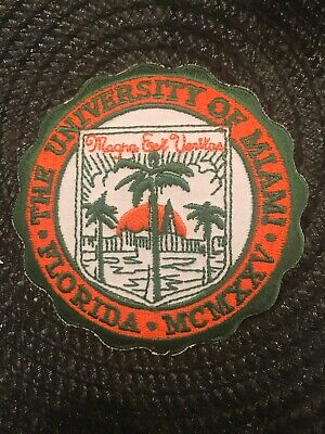 "$6.99 • Buy University Of Miami Hurricanes Vintage Embroidered Iron On Patch 3"" X 3"""