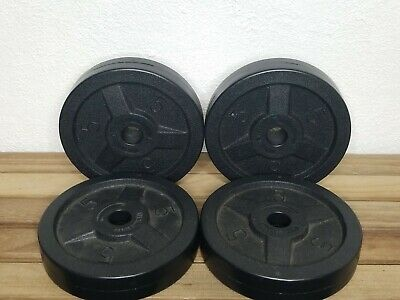 """$ CDN143.63 • Buy Set Of 4 - 5lb Weights Hard Plastic Plates 1"""" Hole (20 Lbs Total)+ 2 Bars/Clamps"""
