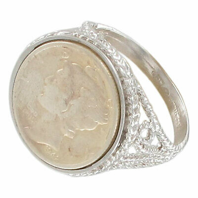 $20.79 • Buy USA Coin Ring Sterling Silver 925 Mercury Dime 1942  Sz 4