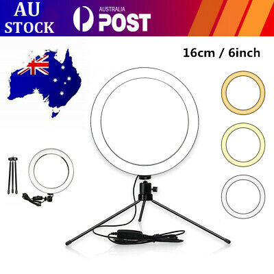 AU36.29 • Buy 8 Inch LED Ring Light Dimmable With Tripod Stand Selfie Stick And Phone Holder