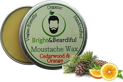 Cedarwood & Orange Moustache Wax Strong Hold For Styling, Twists & Curls 15ml • 3.99£