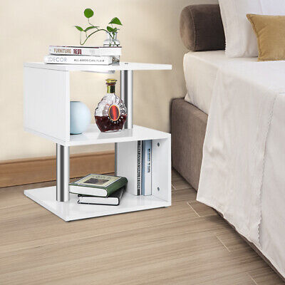 S Shape Side Lamp Coffee Bedside End Table Gloss Shelves TV Unit Display Stand • 33.95£