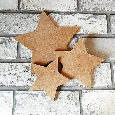 £1.50 • Buy MDF Wooden Star Shape 6mm Various Sizes