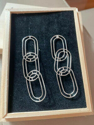 AU260 • Buy Sarah And Sebastian Large Link Earrings - Silver - Brand New