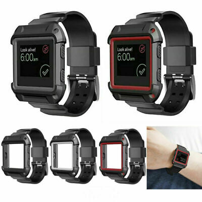 AU7.41 • Buy Silicone Wrist Band Strap W/ Protective Shell Case Holder For Fitbit Blaze Watch