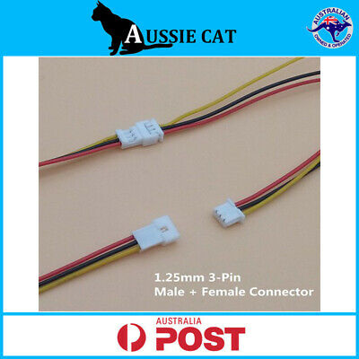 AU4.95 • Buy 2 Pairs Micro JST 1.25 3-Pin Male And Female Connector Plug With Wires Cables