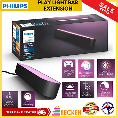 AU127.97 • Buy Philips Hue White And Color Ambiance Smart Play Light Bar Extension Black IP20