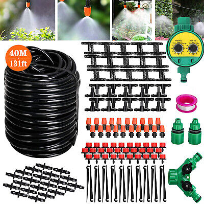 40M Garden Drip Irrigation DIY System Adjustable Nozzle Automatic Watering Kits • 13.99£