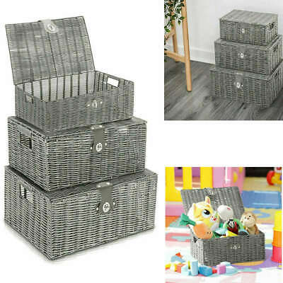 Set Of 3 Wicker Storage Baskets With Lid Lock Resin Woven Hamper Box In Grey • 14.90£