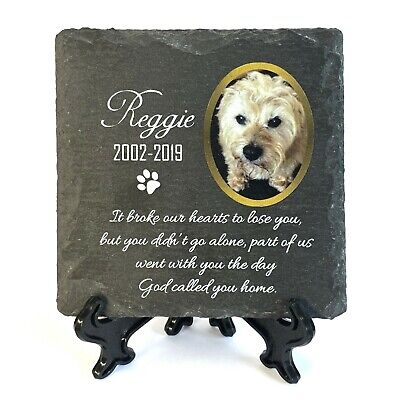 £9.45 • Buy Personalised Pet Memorial Plaque With Photo Stand Slate Tombstone Grave Marker