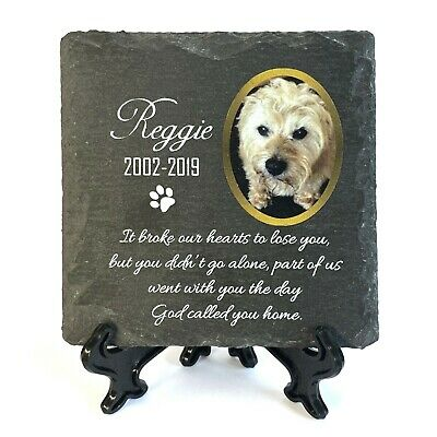 Personalised Pet Memorial Plaque With Photo Stand Slate Tombstone Grave Marker • 8.95£
