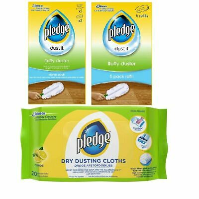 Pledge Fluffy Dusters Starter Kit Dry Dusting Cleaning Cloth Pack Duster Refill • 7.95£