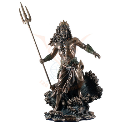 Large 53cm Poseidon Greek God Of The Sea Commanding Waves Cold Cast Bronze.Super • 186.50£