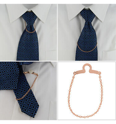 $21.21 • Buy Ky & Co Tie Chain Cable Link Button Hole Attachment Rose Gold Tone 7.75  USA