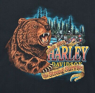 $ CDN73.32 • Buy Vintage 1994 Harley-Davidson Men's Sz 2XL The Strong Survive Bear Biker T-Shirt