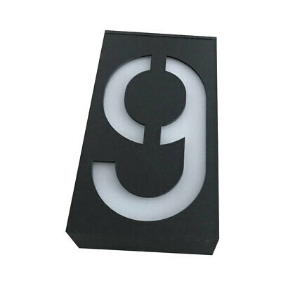 Solar Led Illuminated House Door Number Light Wall Plaque Modern Number 9 • 10.22£
