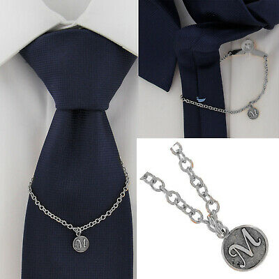 $21.21 • Buy Ky & Co Initial M Silver Tone Tie Chain Button Hole Attachment 7.5  USA Made