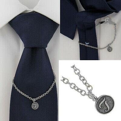 $21.21 • Buy Ky & Co Initial T Silver Tone Tie Chain Button Hole Attachment 7.5  USA Made