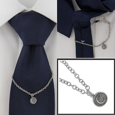 $21.21 • Buy Ky & Co Initial C Silver Tone Tie Chain Button Hole Attachment 7.5  USA Made