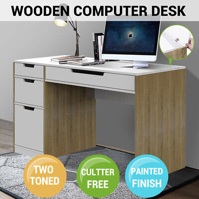 AU245.99 • Buy Wooden Computer Desk Drawers Storage Study Home Office White Oak Table