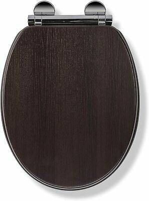 Croydex Flexi-Fix Montoro Slow Close Round Toilet Seat, Moulded Wood, Walnut • 38.80£