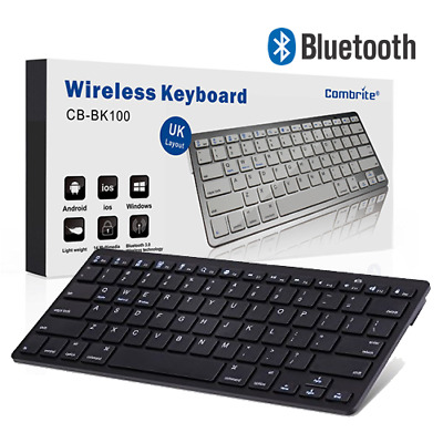 Combrite Slim Wireless Bluetooth Keyboard For PC IMac IPad Android Phone Tablet • 12.95£