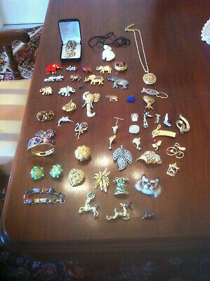 $ CDN350 • Buy Vintage Old Collection Lot Of Elephant Jewellery Pendant Necklace Brooch Pins