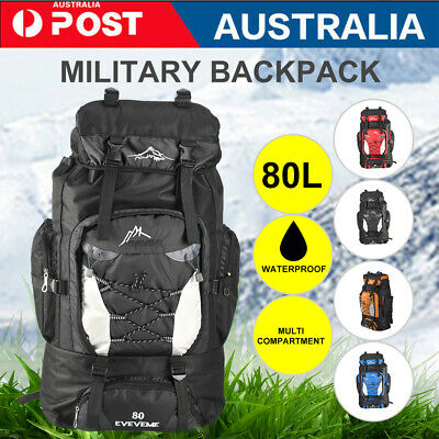 AU25.99 • Buy 80L Large Waterproof Hiking Camping Bag Travel Backpack Outdoor Luggage Rucksack
