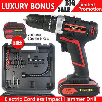View Details 2Batteries 21V Cordless Combi Hammer Impact Drill Driver Electric Screwdriver UK • 57.15£