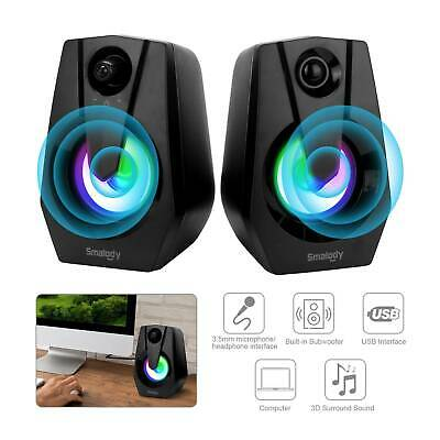 LED PC Computer Stereo Speakers USB Compact Size  Laptop Clear Sound UK • 10.59£