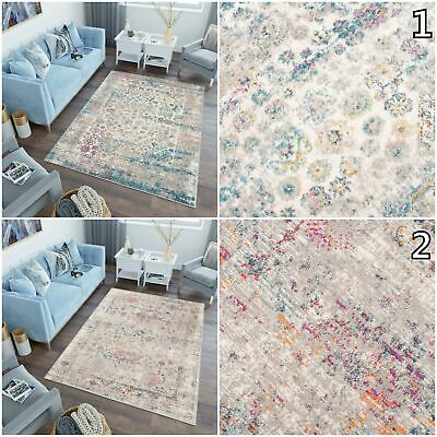 Vintage Area Rug Blue Pink Floral Decorative Bedroom Living Room Soft Rugs S-XXL • 142.89£