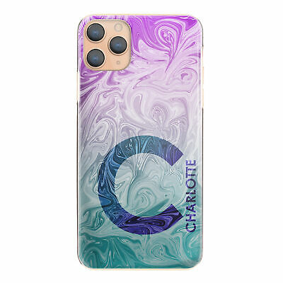 AU12.62 • Buy Personalised Initial Phone Case, Pink Purple Marble Swirl Hard Cover With Name