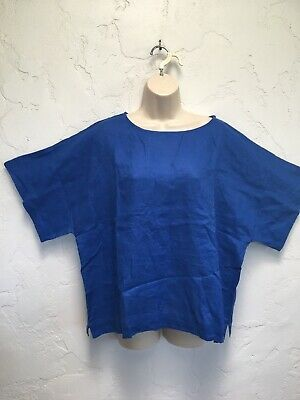 $34 • Buy Chico's Cana II Lagenlook 100% Linen Majestic Blue Pullover Top 3 XL NWT Boxy