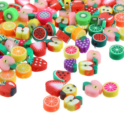 £5.99 • Buy 100pcs/lot 10mm Polymer Clay Mixed Fruits Spacer Beads For DIY Jewellery Making