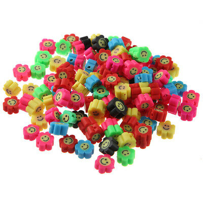 100Pcs/lot Polymer Clay Beads Smile Face Sun Flower For DIY Jewellery Making • 5.99£