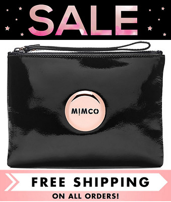 AU49 • Buy Mimco Lovely Medium Pouch Clutch Patent Black Rose Gold Bnwt Rrp$99 - Free Post