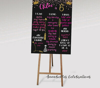 AU12 • Buy Custom Printable Birthday Print Party Decoration 2nd 3rd 4th 5th 6th Pink Gold