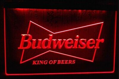 Budweiser LED Neon Bar Sign Home Light Up Pub Bud Beer Lager Mancave Drink • 14.49£