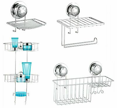 Super Suction Cup NO DRILLING Bathroom Shower Wall Storage Caddy Soap Dish Tidy • 6.95£