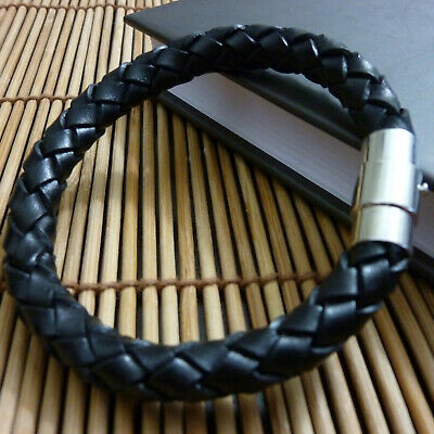 Mens Genuine Flat Leather Braided Wristband Bracelet Stainless Steel Clasp • 6.99£