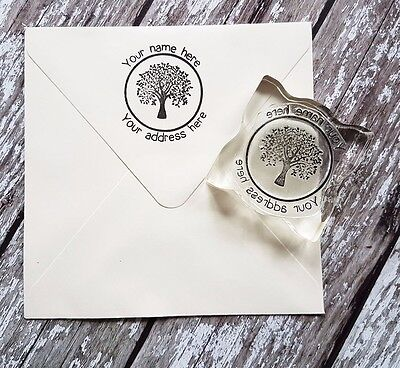 Custom Personalized Business Return Address Name Tree Rubber Stamp • 9.50£