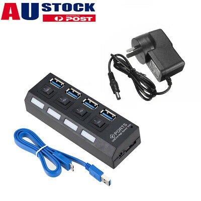 AU18.99 • Buy 4 Port USB 3.0 HUB With ON/OFF Switchs For PC Laptop High 900mA Output Powered