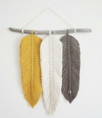 £17.95 • Buy 3 MACRAME FEATHERS KIT Craft Wall Hanging Gift Boxed Knot Starter Project UK