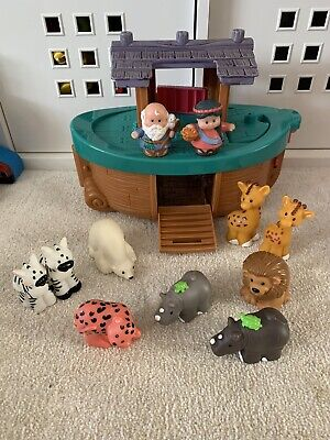 FISHER PRICE LITTLE PEOPLE NOAH'S ARK WITH ANIMALS & FIGURES Rare Toy L@@k! • 10.99£