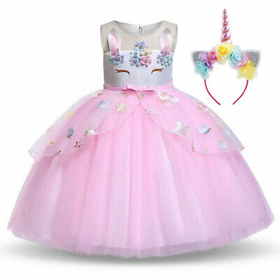 2020 Girls Unicorn Dress Party Costume Fancy Outfit Tutu Rainbow Flower Headband • 15.49£