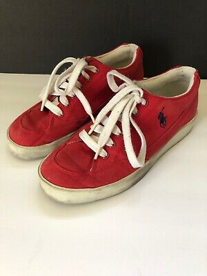 $17.99 • Buy Ralph Lauren Polo Womens Canvas Fashion Sneakers Shoes Red Sz 7B Low Top